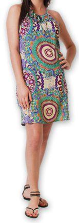 Robe courte d'été fluide Ethnique et Imprimée Teresa Verte 277184