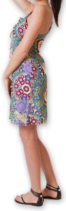 Robe courte d'été fluide Ethnique et Imprimée Teresa Verte 277185