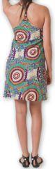 Robe courte d'été fluide Ethnique et Imprimée Teresa Verte 277186