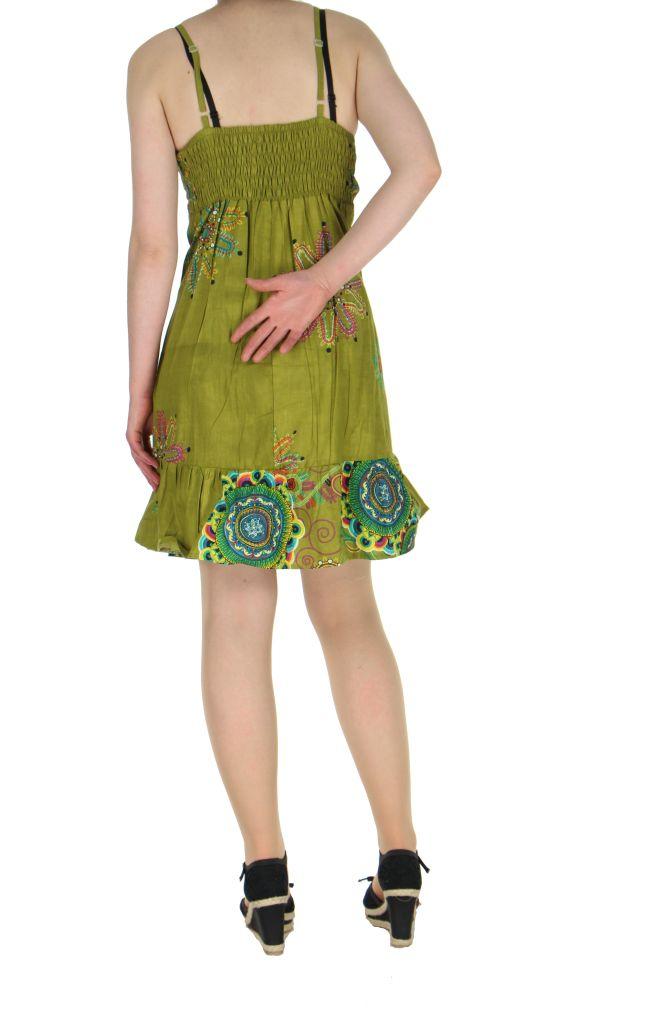 Robe courte d'été kaki col en V Laureen 267699