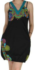 Robe courte d'été Noire Ethnique et forme Boule Madurai 279591