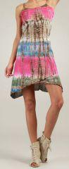 Robe courte d'été Rose Tie and Dye Originale et Colorée Branda 276978