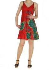 Robe courte d'�t� rouge col en V Laureen 267696