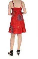 Robe courte d'été rouge col en V Laureen 267697