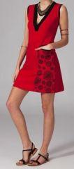 Robe courte d\'été rouge col en V mirza 269022