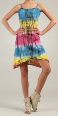 Robe courte d'�t� Tie and Dye Originale et Color�e Bleue Branda 276974