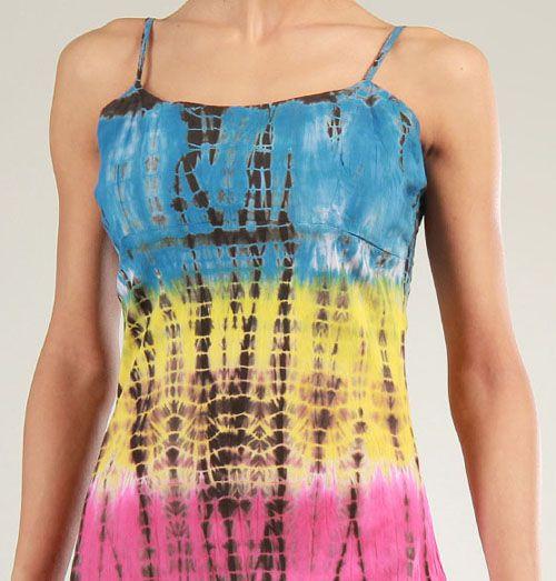 Robe courte d'été Tie and Dye Originale et Colorée Bleue Branda 276975