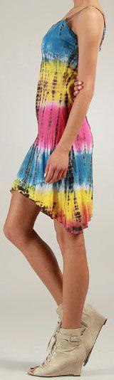 Robe courte d'été Tie and Dye Originale et Colorée Bleue Branda 276976