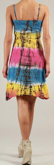 Robe courte d'été Tie and Dye Originale et Colorée Bleue Branda 276977