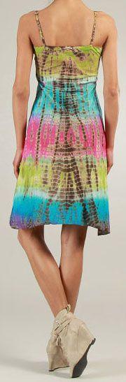 Robe courte d'été Tie and Dye Originale et Colorée Branda Verte 276973