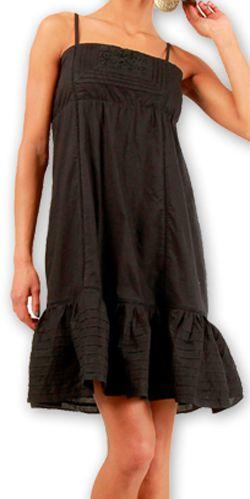 Robe courte d'été très agréable Ethnique et Chic Dianna Noire 277002