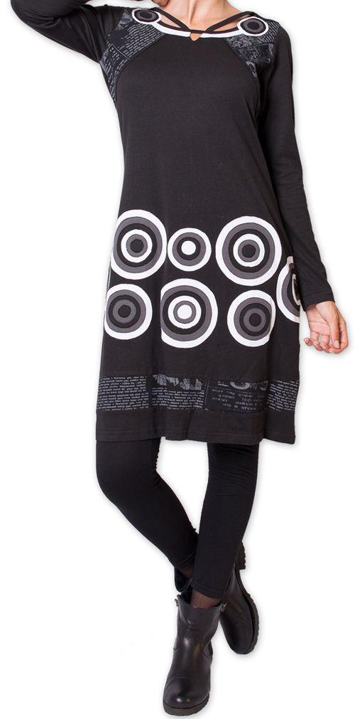 Robe courte d'hiver à Col Original et Ethnique KATANGA Noir 277577