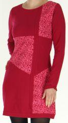 Robe courte d'hiver � col rond Color�e et Originale Paula Fushia 277917