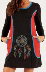 Robe courte d'hiver Colorée et Indienne Patmos Noire 279709