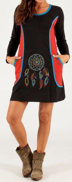 Robe courte d'hiver Colorée et Indienne Patmos Noire 279710