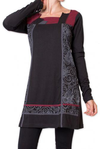 Robe courte d'hiver Elégante et Ethnique Euphrase Noire 275695