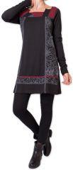Robe courte d'hiver Elégante et Ethnique Euphrase Noire 275696