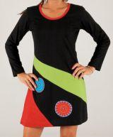 Robe courte d'hiver Ethnique et Colorée Rhodes Noire 279732