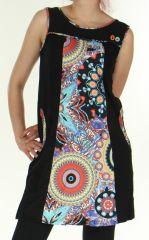 Robe courte d'hiver Ethnique et Color�e Saskia Noire 276155