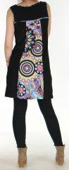 Robe courte d'hiver Ethnique et Colorée Saskia Noire 276157