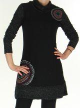 Robe courte d'hiver Ethnique et Colorée Tahina Noire 276355