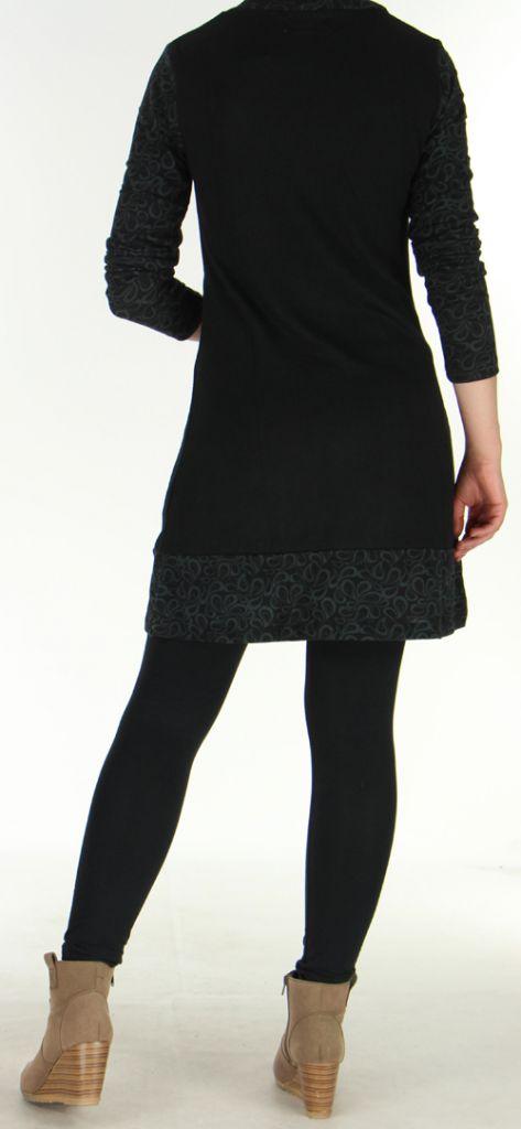 Robe courte d'hiver Ethnique et Colorée Tahina Noire 276357