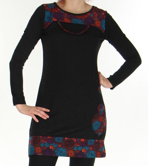 Robe courte d'hiver Ethnique et Colorée Telma Noire 276374