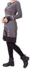 Robe courte d'hiver Ethnique et Originale Heclas Gris 275810