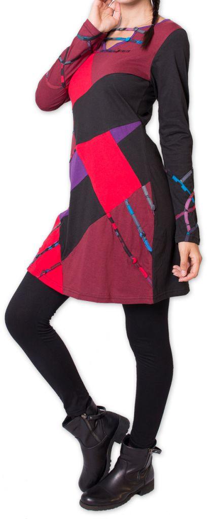 Robe courte d'hiver Ethnique et Originale Nadyme Noire 275874