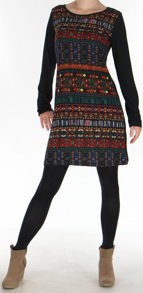 Robe courte d'hiver Ethnique et Originale Najoua Noire 275911