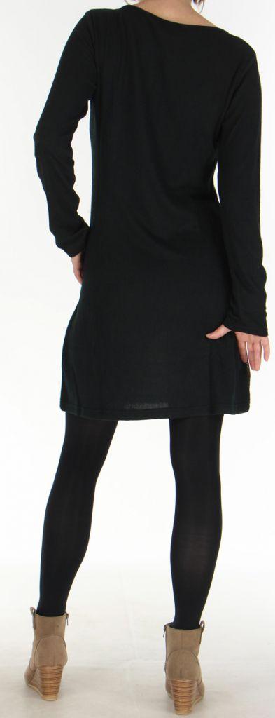 Robe courte d'hiver Ethnique et Originale Najoua Noire 275912