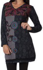 Robe courte d'hiver Ethnique et Originale Tapty Noire 278780