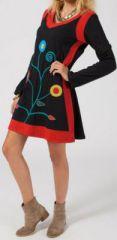 Robe courte d\'hiver noir et rouge à manches longues Alexia