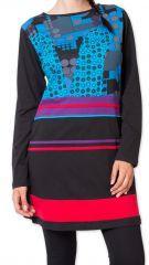 Robe courte d'hiver Originale et Colorée Makenzie Noire 275839