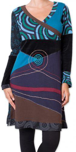 Robe courte d'hiver Originale et Ethnique Fermond Bleue 275727