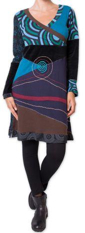 Robe courte d'hiver Originale et Ethnique Fermond Bleue 275730