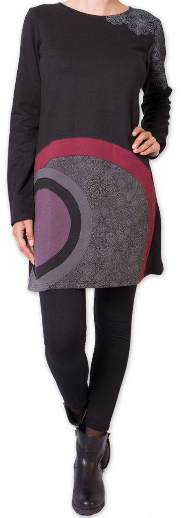 Robe courte d'hiver Originale et Ethnique Maronie Noire 275865