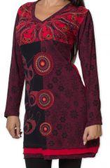 Robe courte d'hiver Originale et Ethnique Tapty Rouge 278784