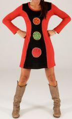 Robe courte d'hiver Rouge et Noire à manches longues Lipari 279727