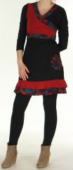 Robe courte Effet cache-coeur Ethnique et Originale Urielle Noire 276432