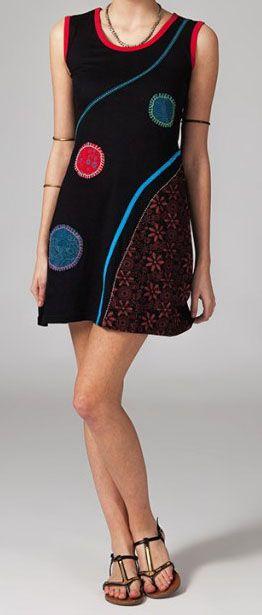 Robe courte en coton col rond Valentina 269007