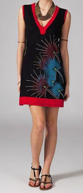 Robe courte en coton noire et rouge Zazie