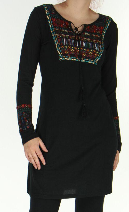 Robe courte en Maille Ethnique et Originale Vitalie Noire 276462