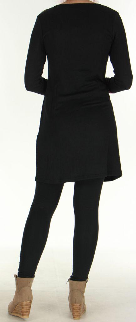 Robe courte en Maille Ethnique et Originale Vitalie Noire 276464