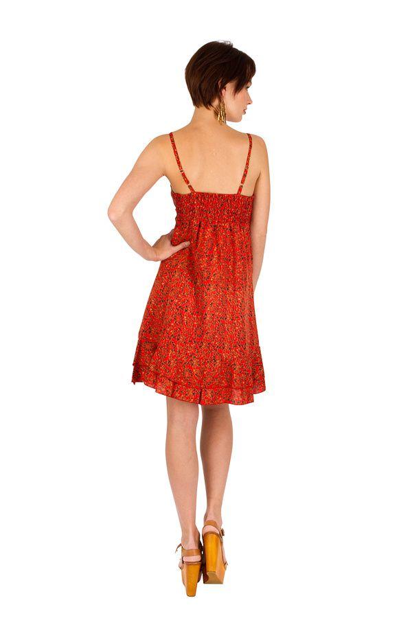 Robe-courte estivale à fines bretelles et col v orange Ramona 293364