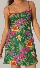 Robe courte estivale Originale et Colorée Tropicale 277861