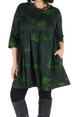 Robe courte et imprimés camaieu vert Forest 301704