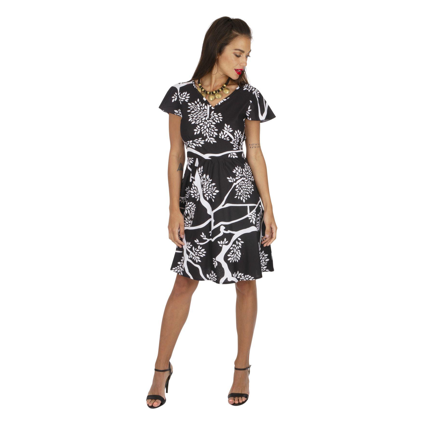 Robe courte été pour femme noire imprimée nature Yolande
