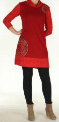 Robe courte Ethnique et Colorée d'hiver Tahina Rouge 276359