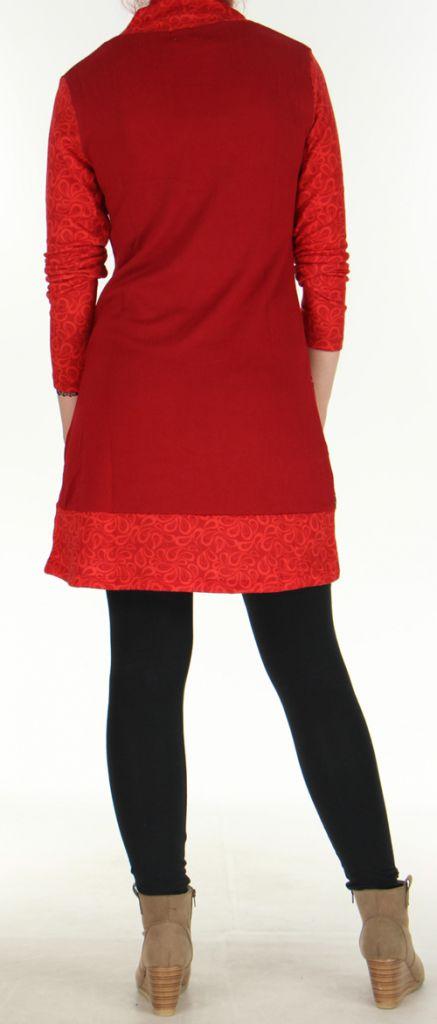 Robe courte Ethnique et Colorée d'hiver Tahina Rouge 276361